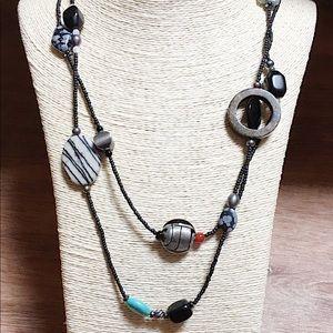 SILPADA 925 Multi-Stone Black Bead Necklace N1967